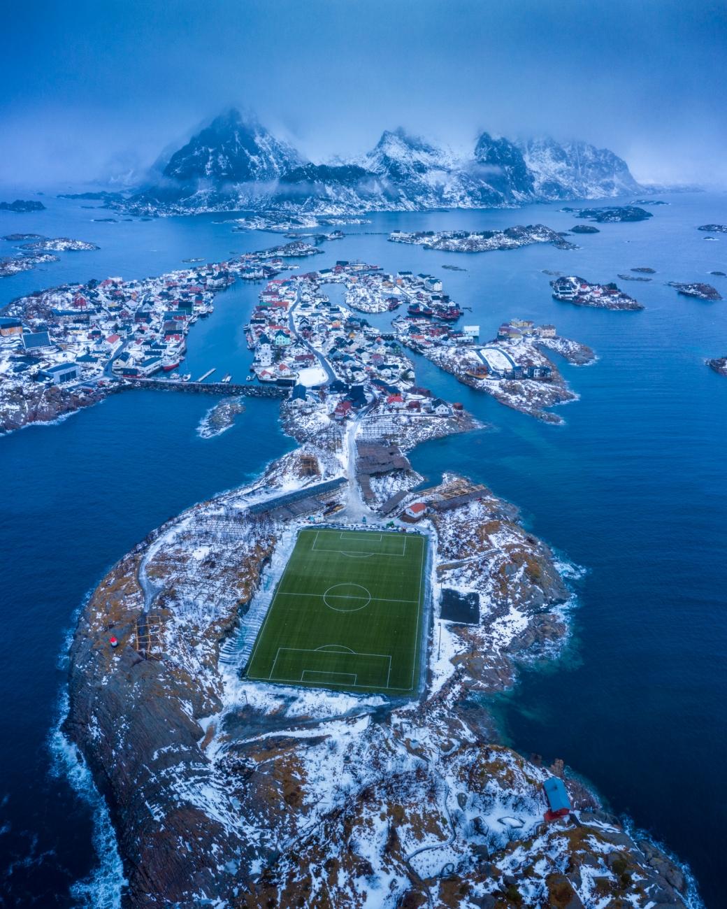 The football field of Henningsvær, Lofoten.