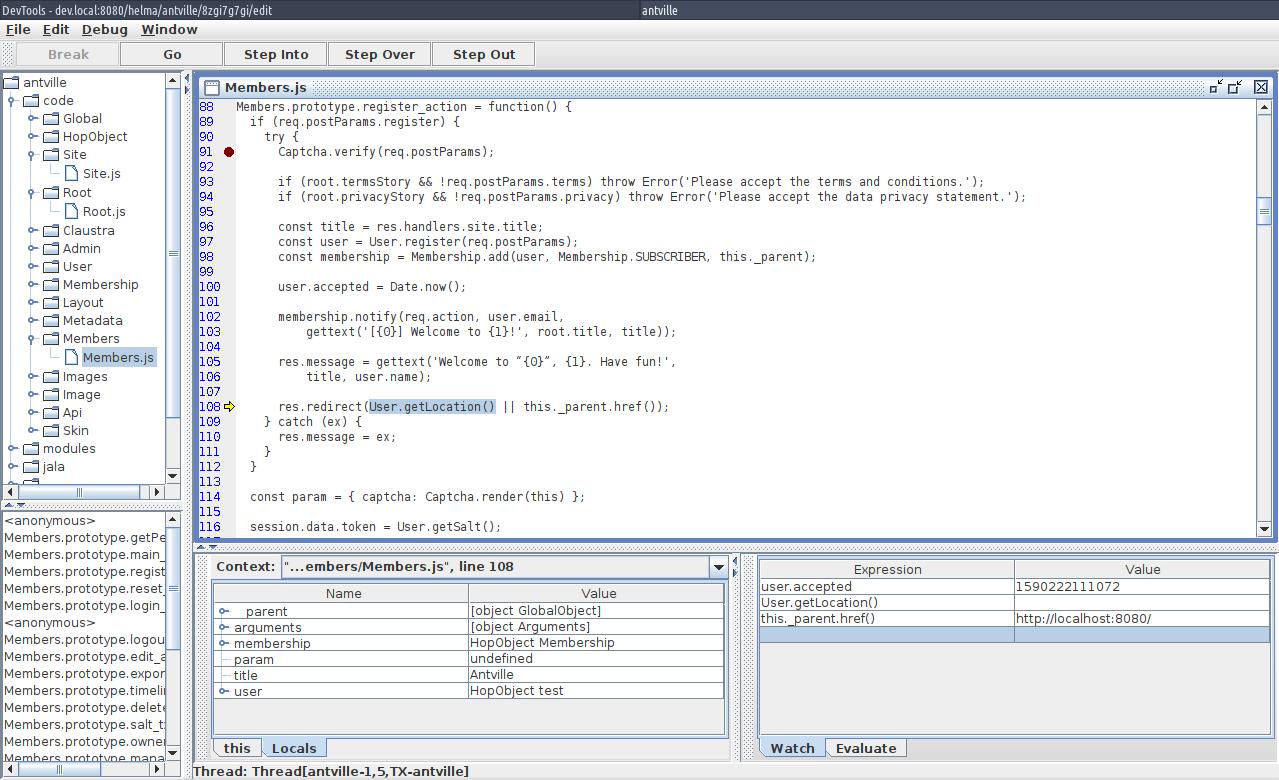 Screenshot of Helma's built-in debugger in full force