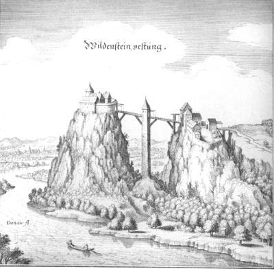 Burg Wildenstein bei Leibertingen. Kupferstich von Matthäus Merian aus dem Jahr 1643.